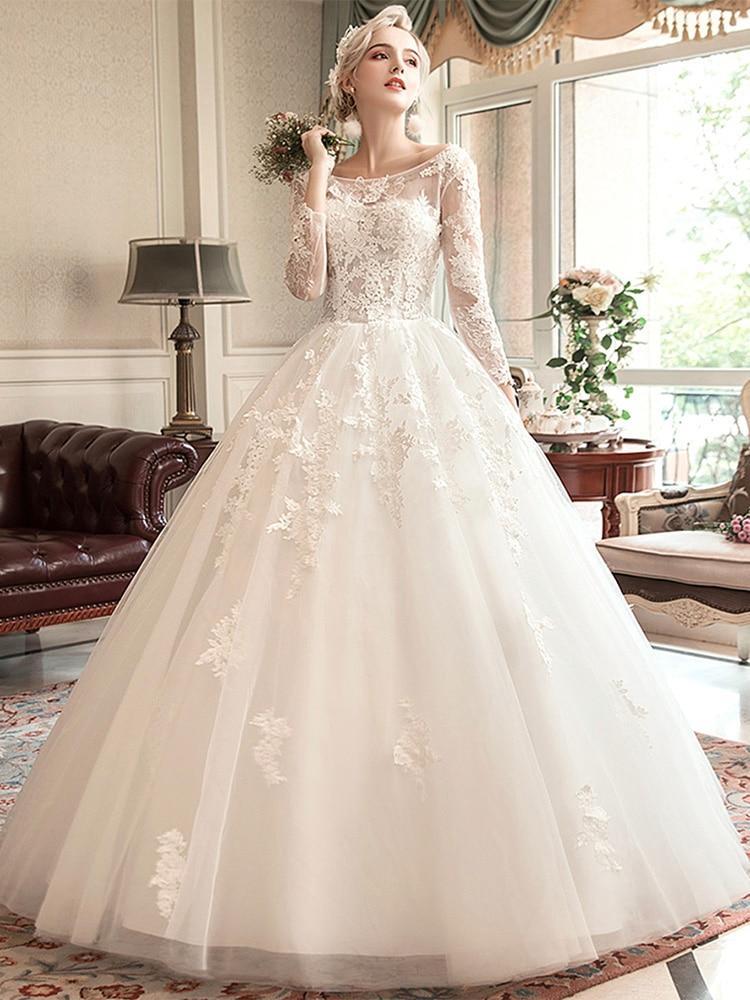 Bateau neck wedding gown