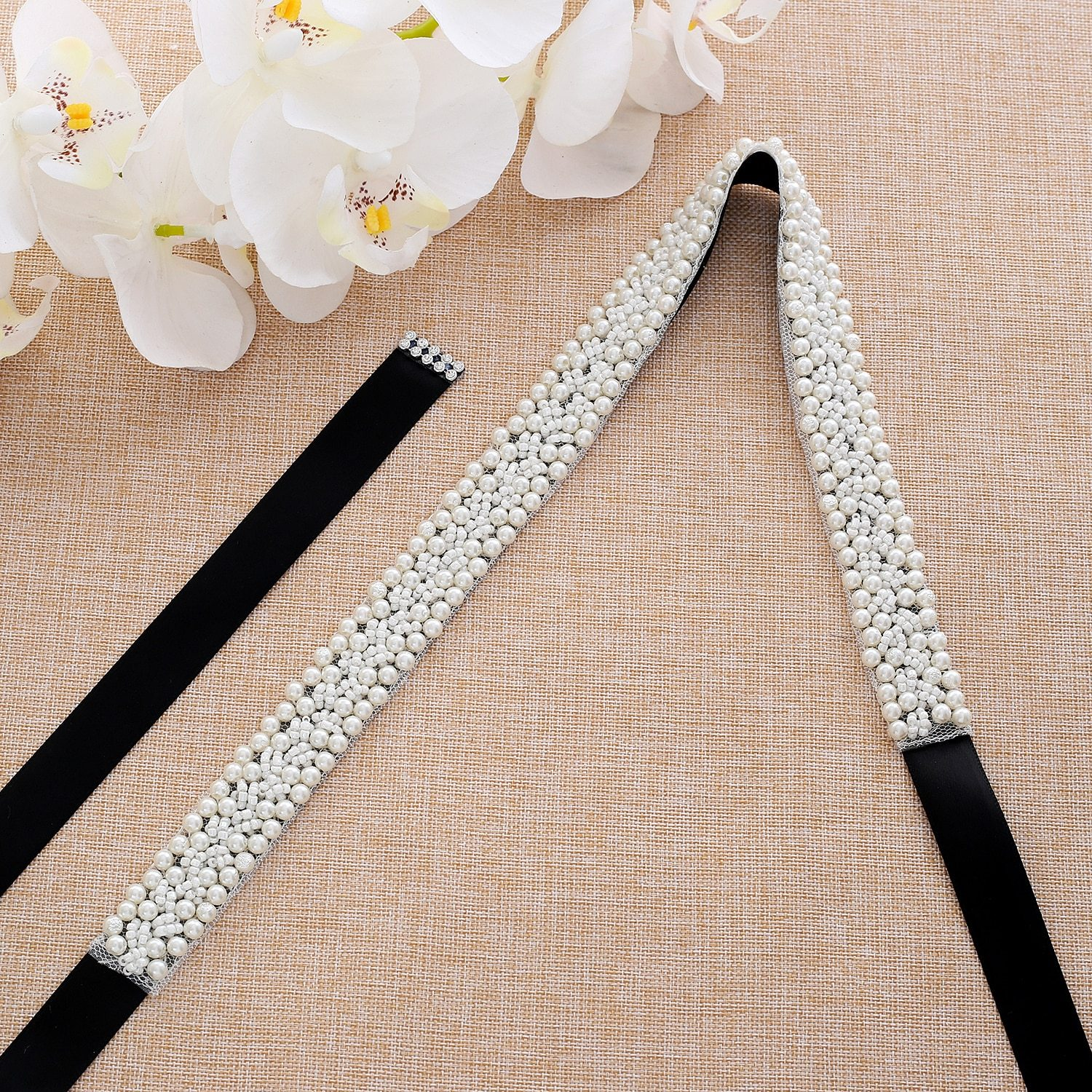 Black sash with pearls