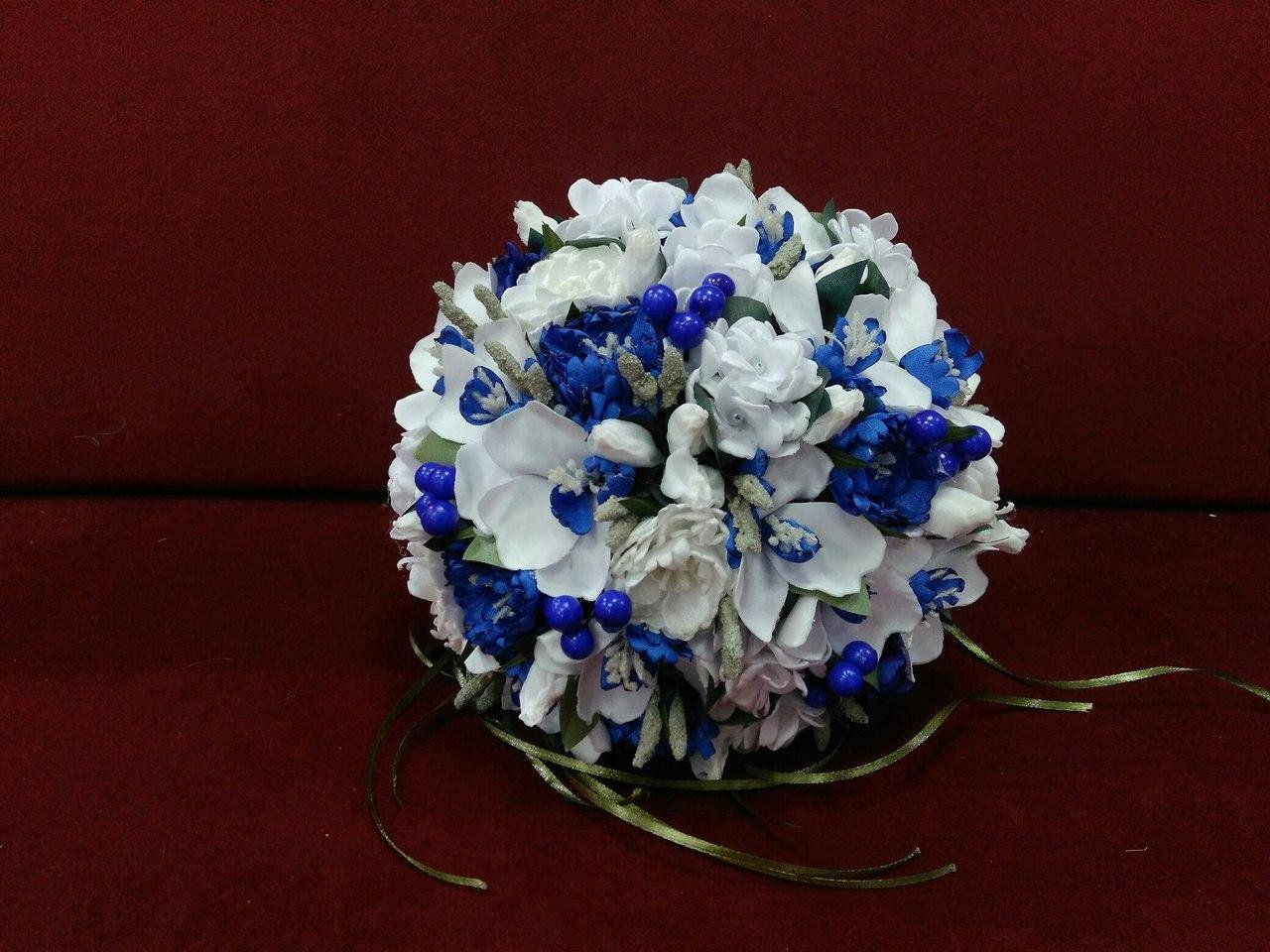Blue and white orchid wedding bouquet