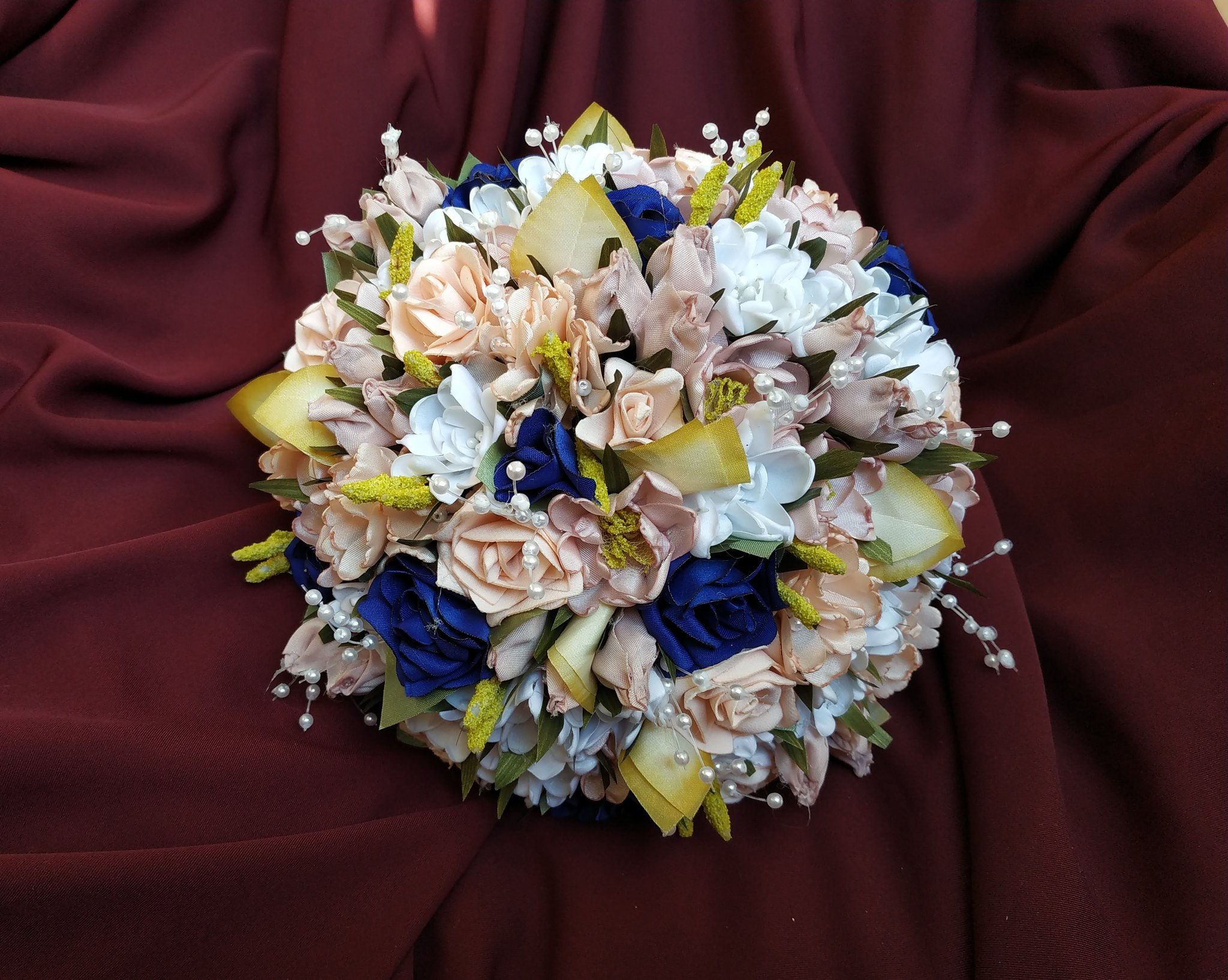 Blush and blue bridal bouquet