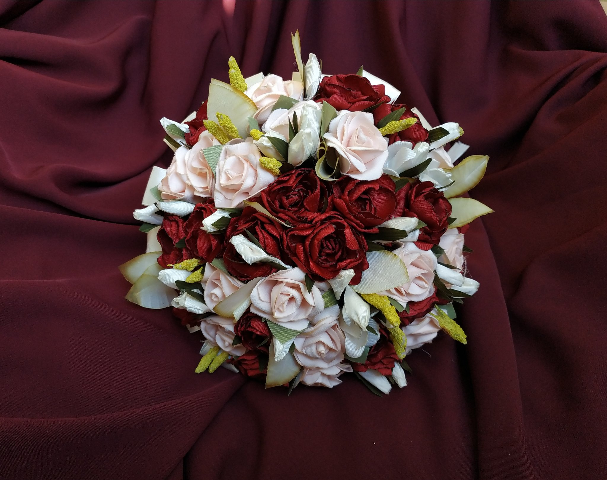 Blush and burgundy wedding bouquet of faux flowers