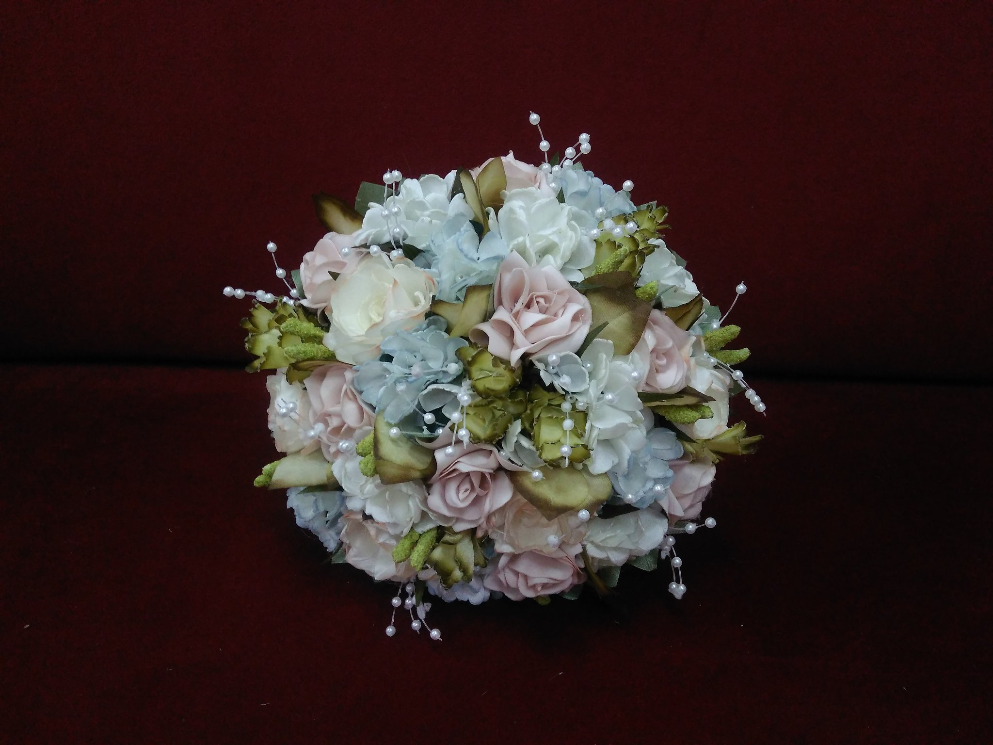 Dusty blue and blush wedding bouquet