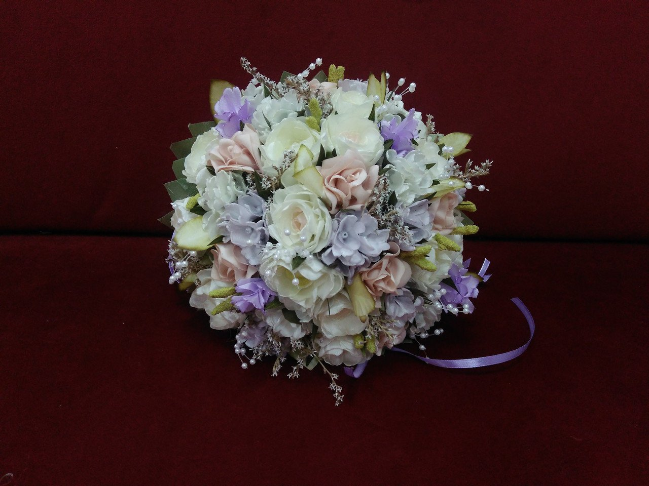 Ivory, blush and lilac bridal bouquet
