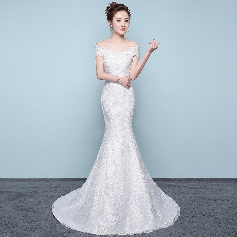 Lace off-the-shoulder wedding dress