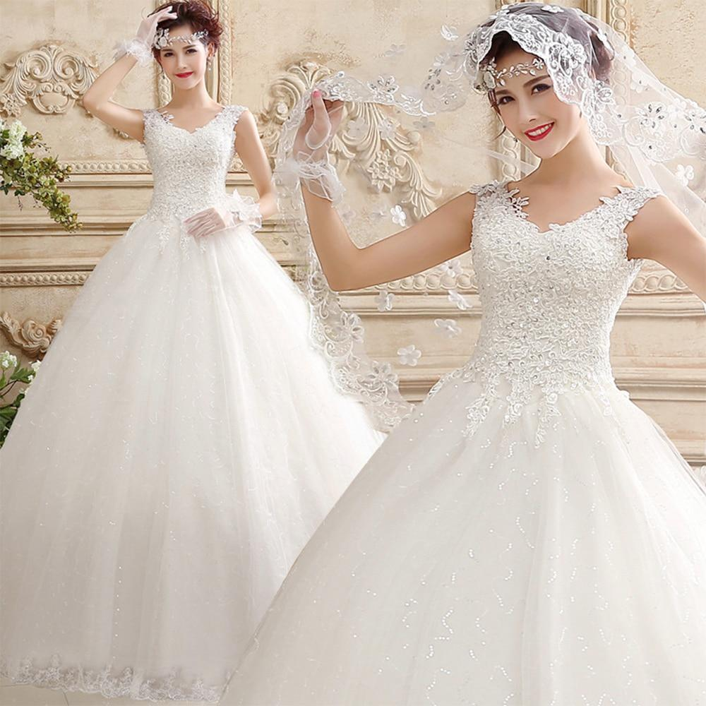 Lace bodice ball gown wedding dress