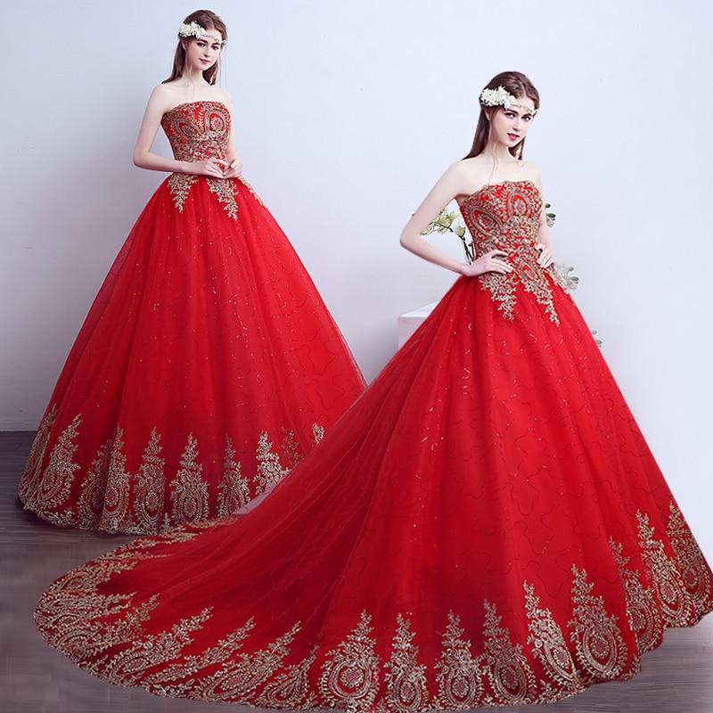 Red and gold wedding dress