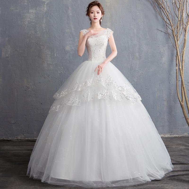 Wedding dress with a multi-tiered skirt