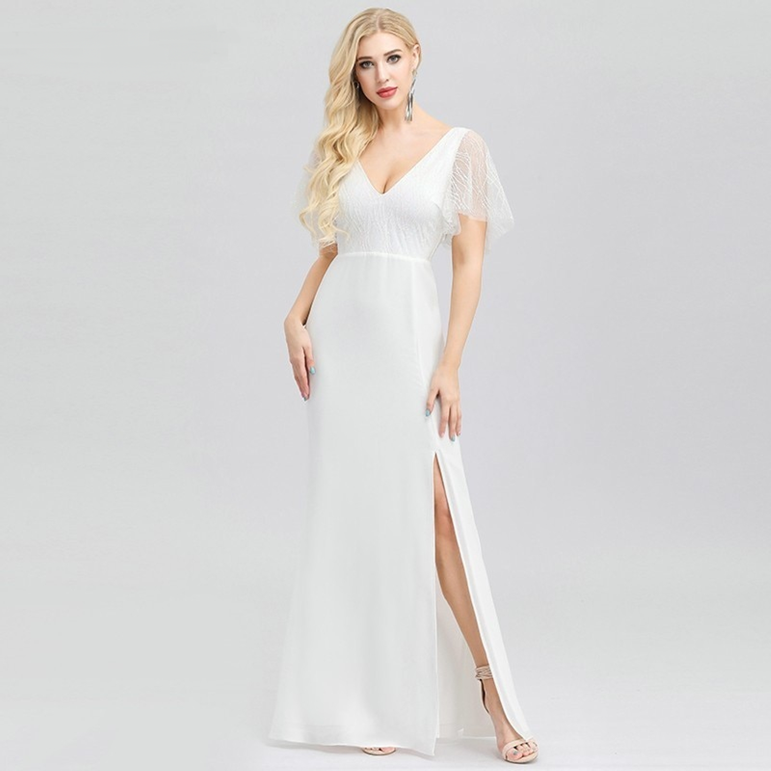 Wedding dress with a slit and flutter sleeves