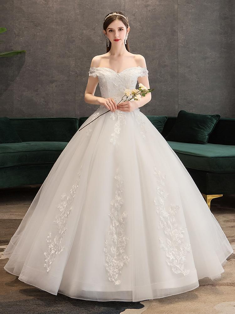 Off-the-shoulder ball gown wedding dress