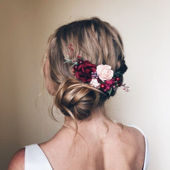 Side swept updo with flowers