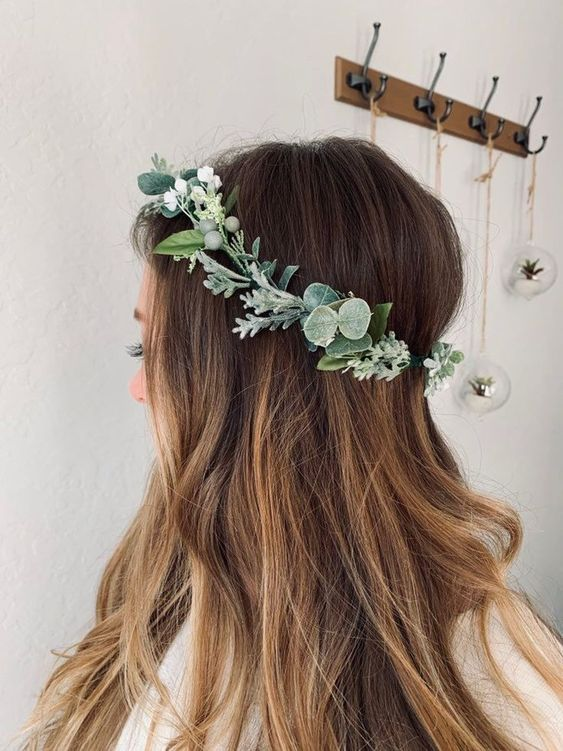 Delicate flower crown and loose hair