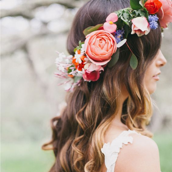 Bright flower crown and loose hair