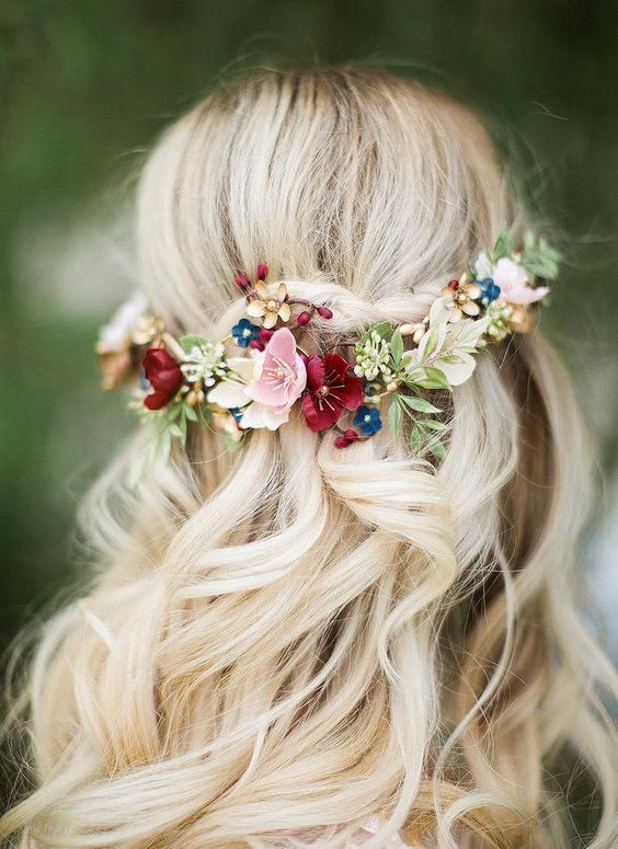 Bright flowers with hair half up hairstyle
