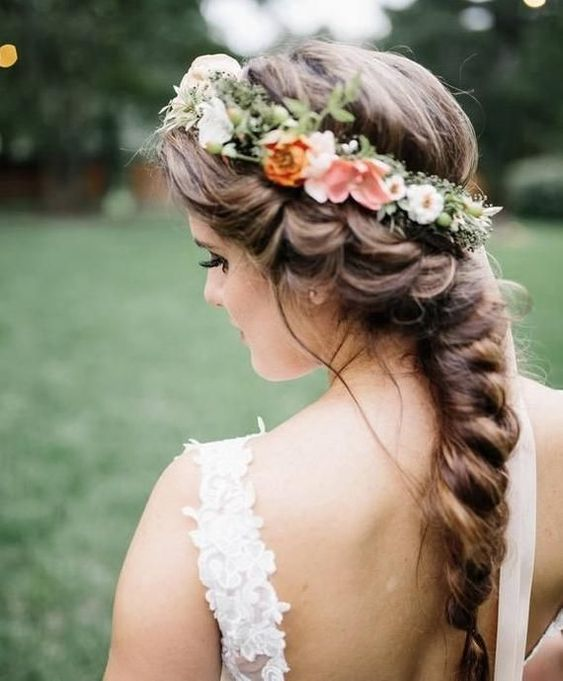 Braided bridal hair with flower crown