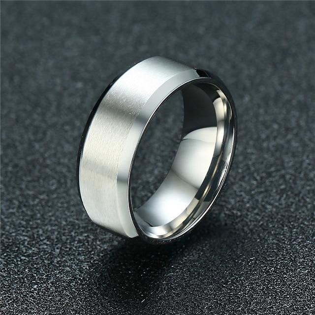 Thick stainless steel wedding band