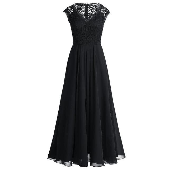 Black bridesmaid dress with lace top