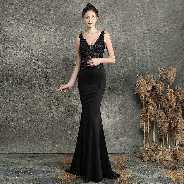 Black V-neck mermaid dress