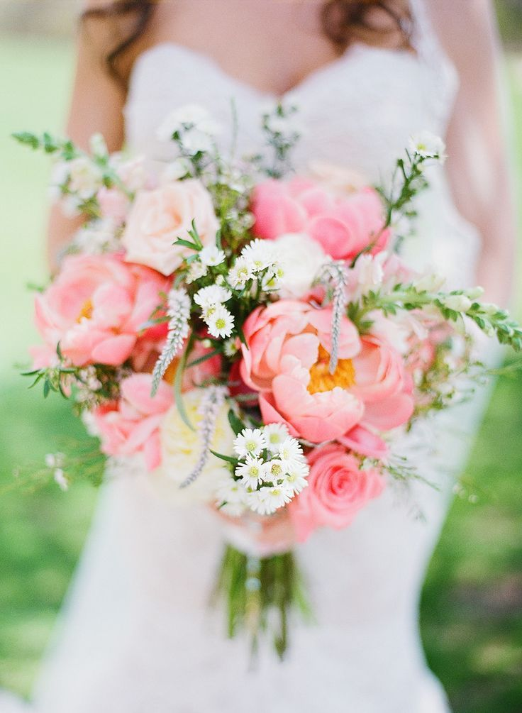 Bright peony wedding bouquet