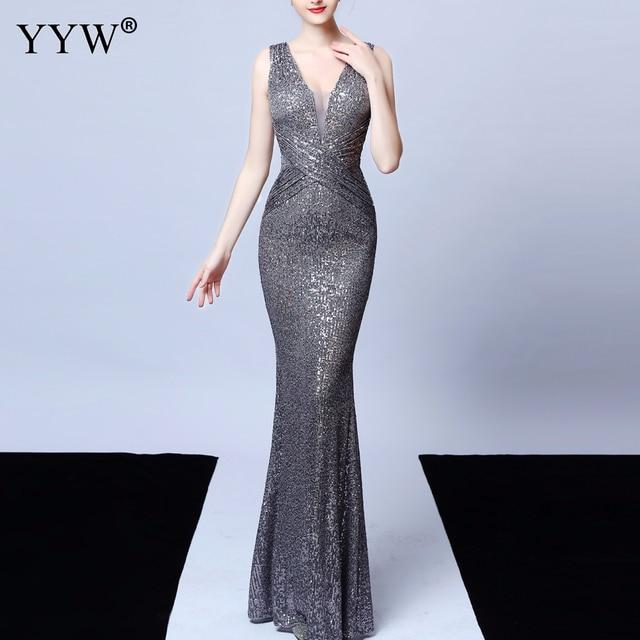 Gray sequined bridesmaid dress