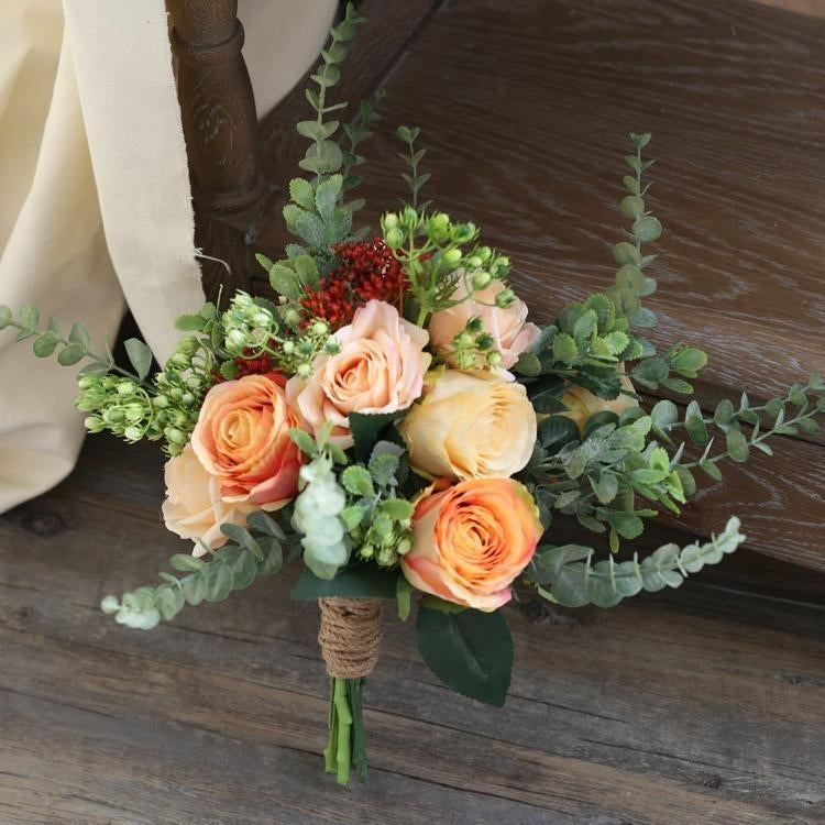 Multicolor roses wedding bouquet