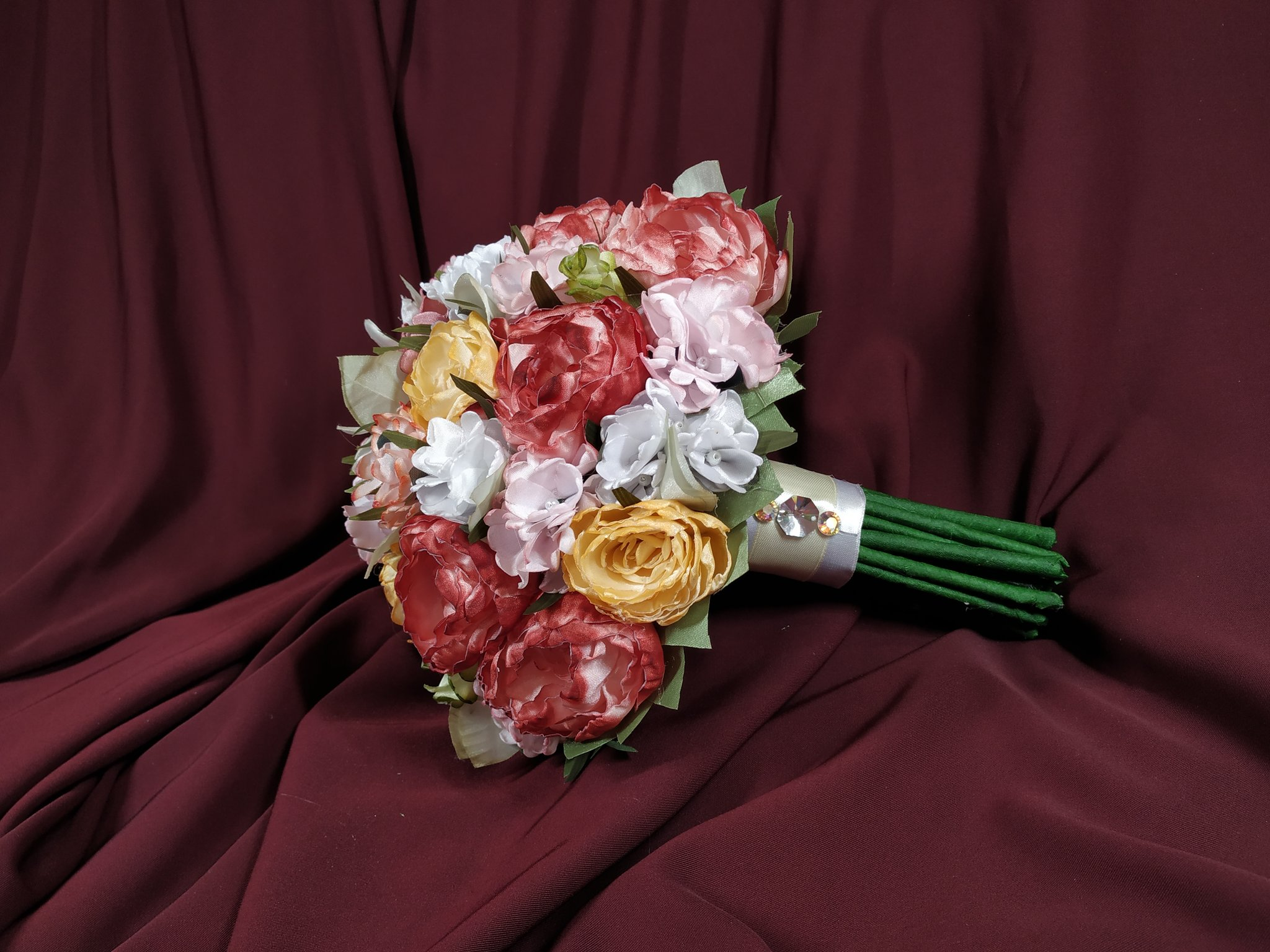 Wedding bouquet of artificial peonies