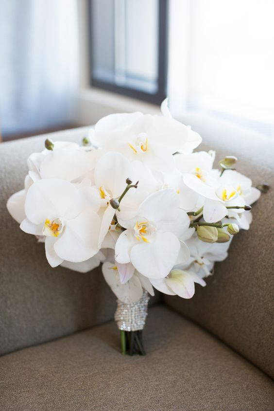 Wedding bouquet of white orchids