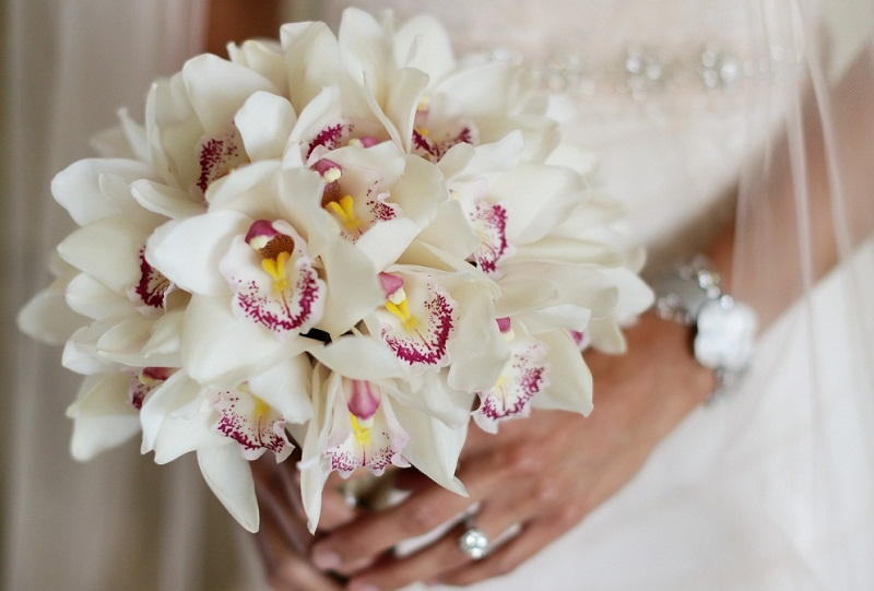 White orchid bridal bouquet