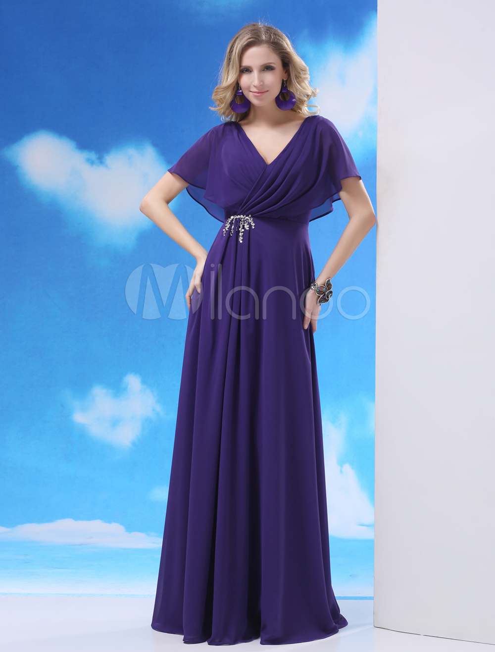 Chiffon dress with flutter sleeves
