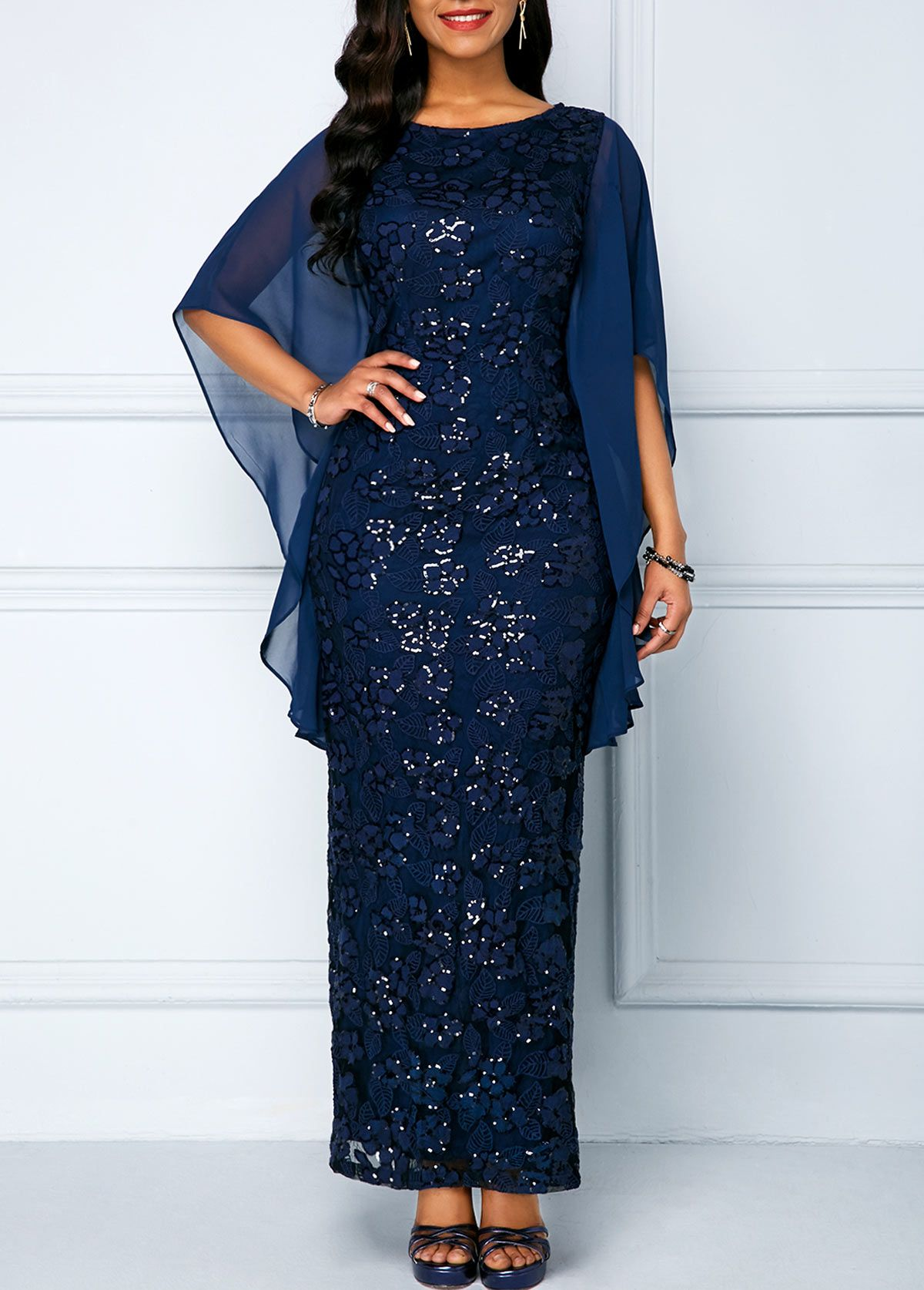 Sequined dress with chiffon sleeves