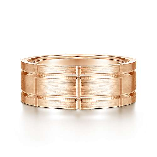Checkered pattern men's wedding band