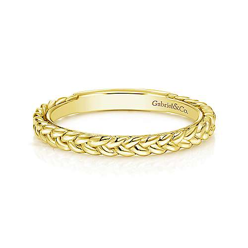 Gold braided stackable ring