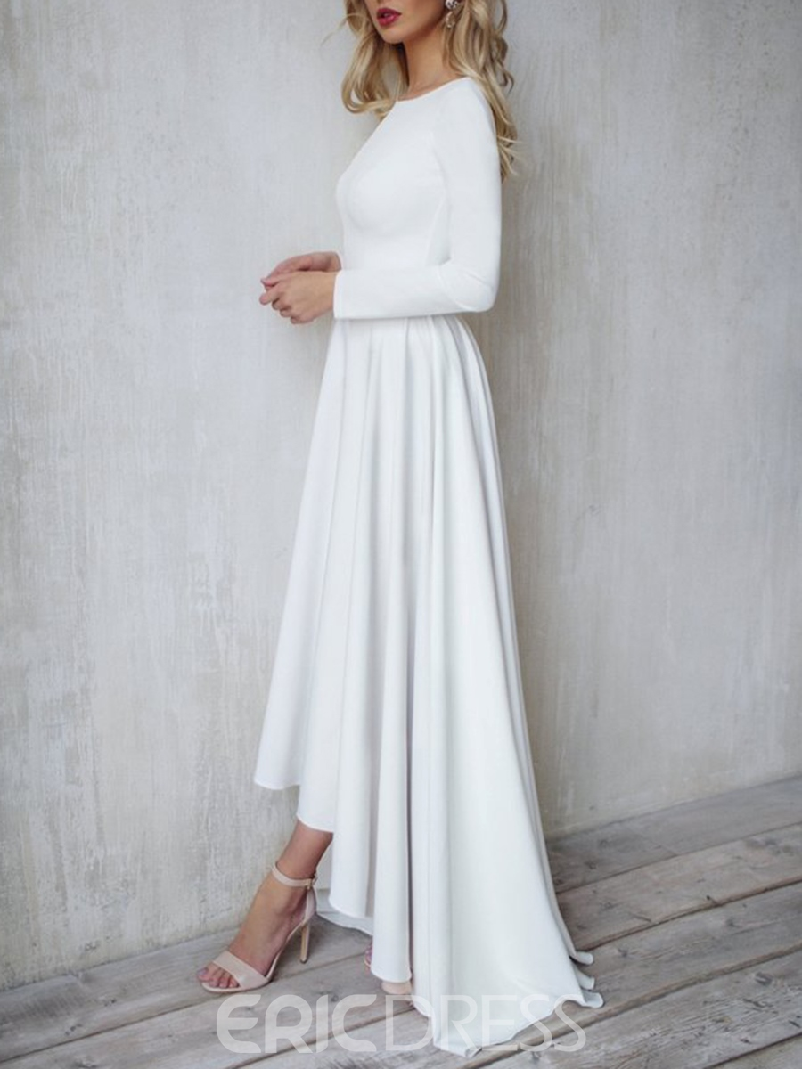 Casual high low wedding dress with sleeves