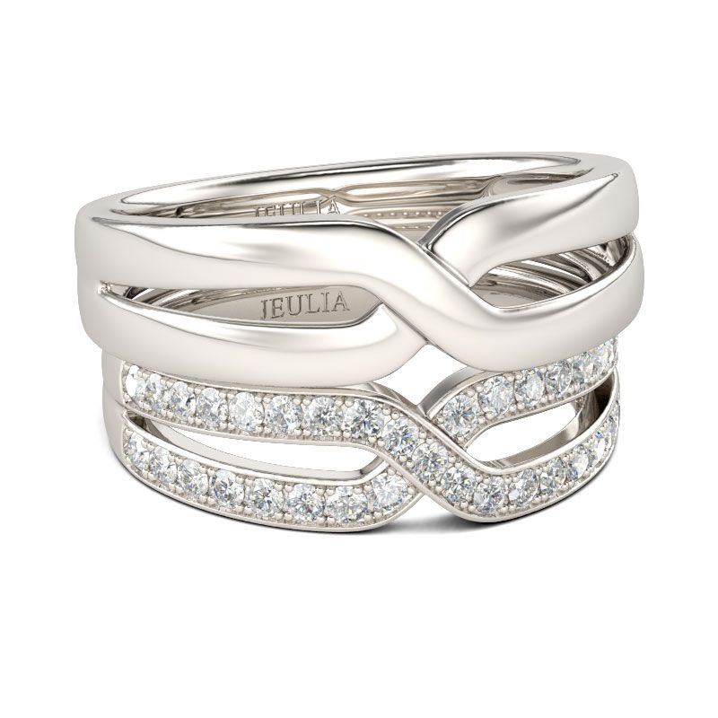 Crossover sterling silver wedding rings
