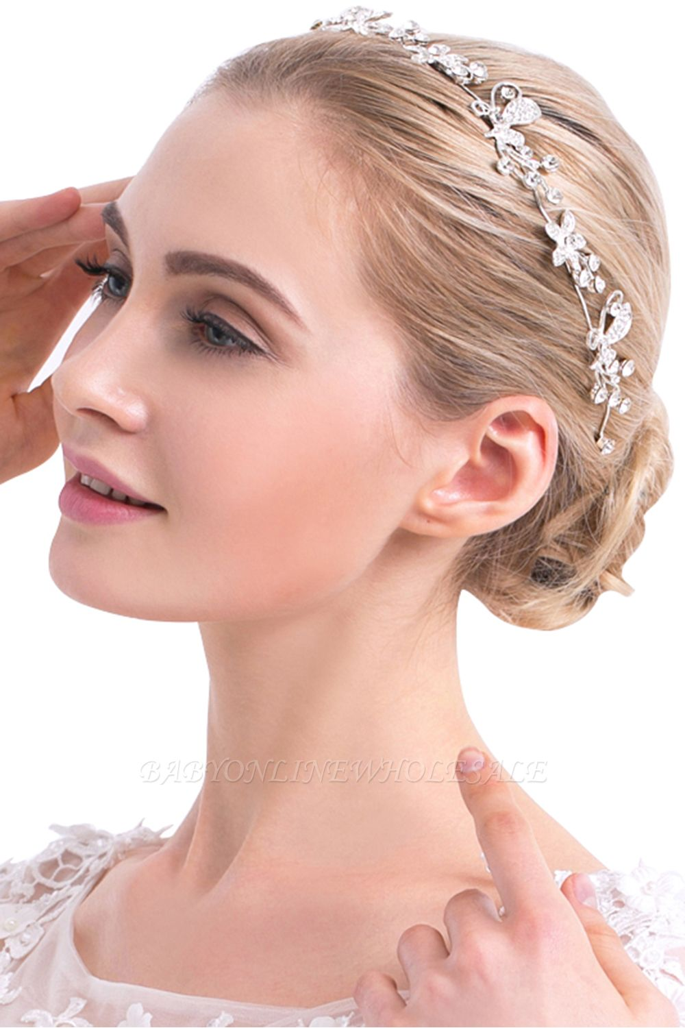 Headband with rhinestone flowers