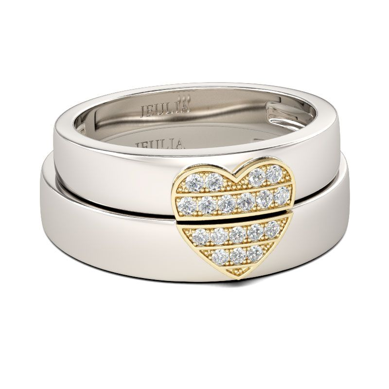 Heart design wedding bands