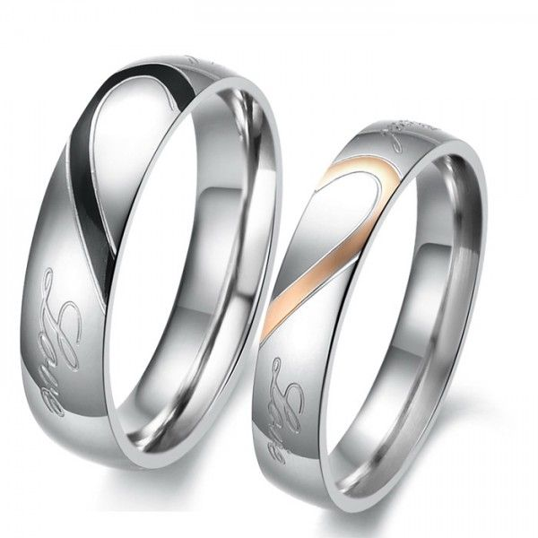 Heart titanium steel wedding rings