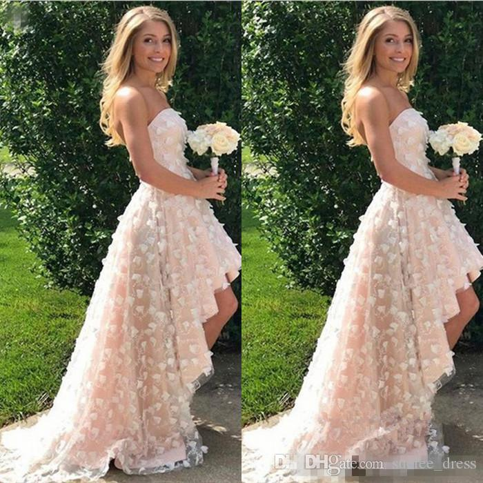 High low wedding dress with 3d floral appliques