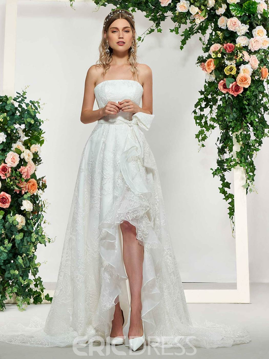 High low wedding dress with bow