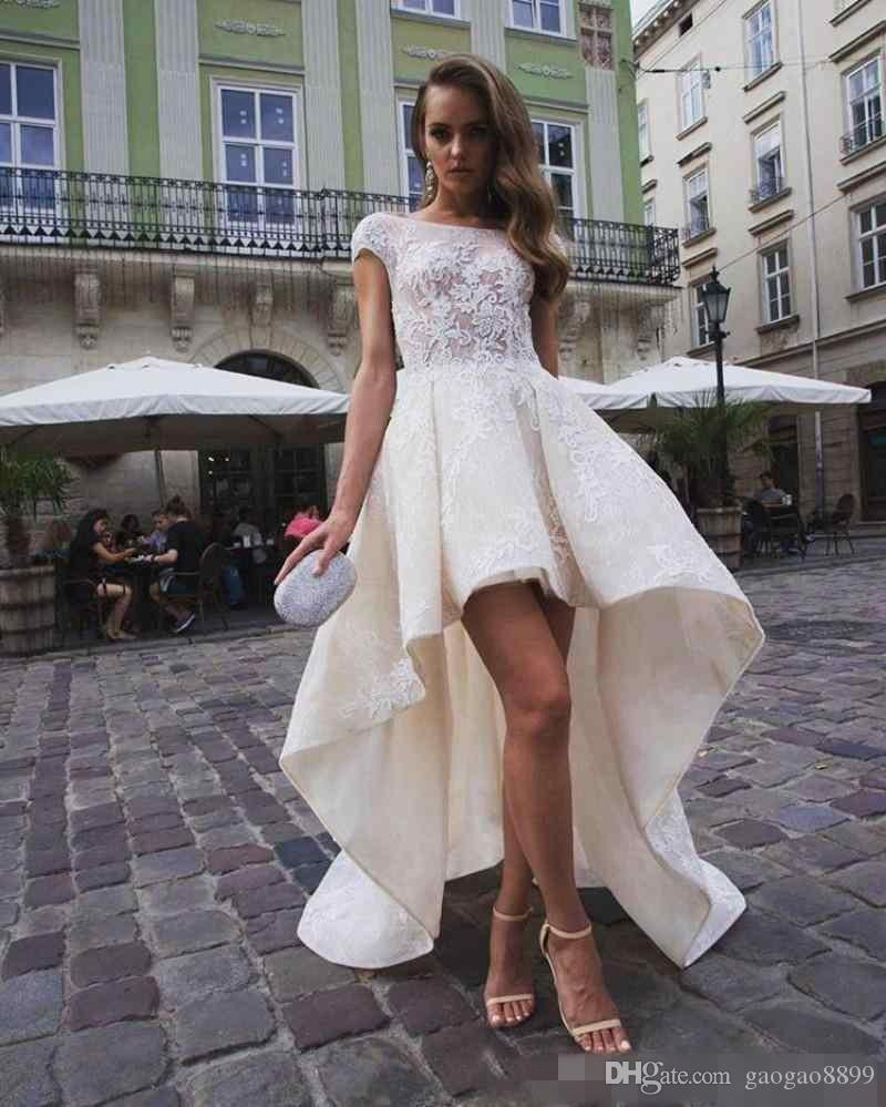 High low wedding dress with cap sleeves