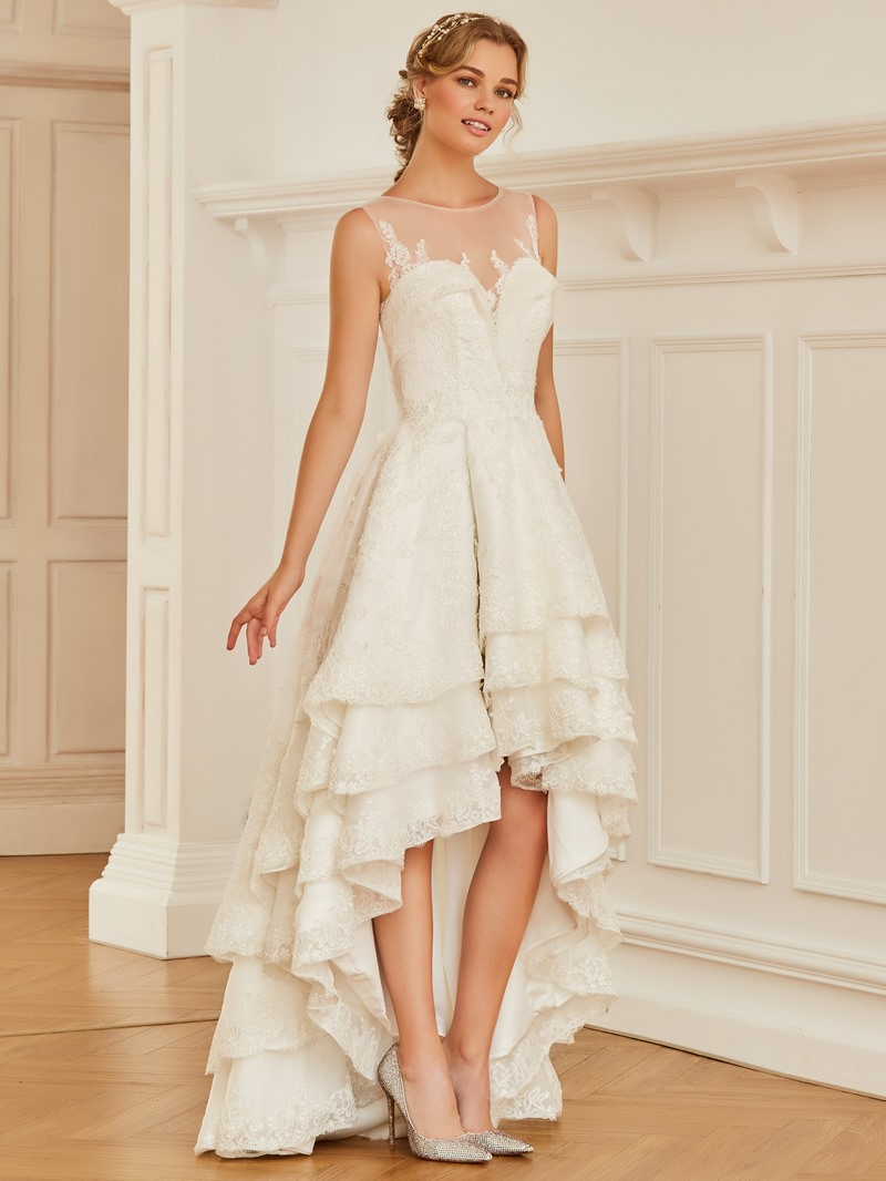 High low wedding dress with multi tiered skirt