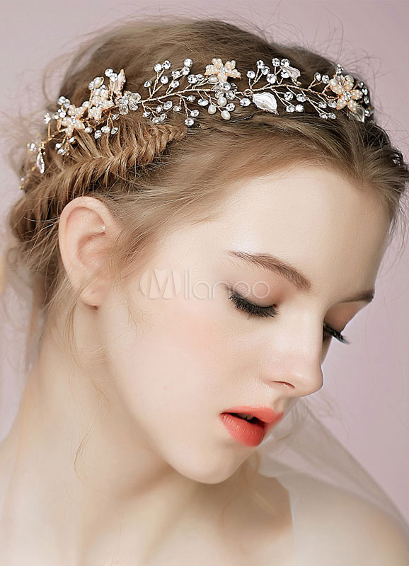 Rhinestone headband with leaves and flowers