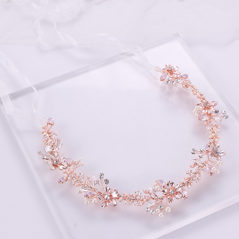 Rose gold wedding headband