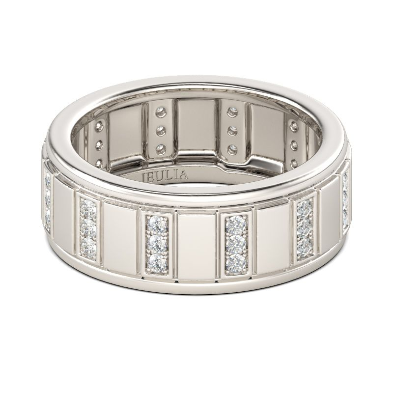 Round cut sterling silver band for men