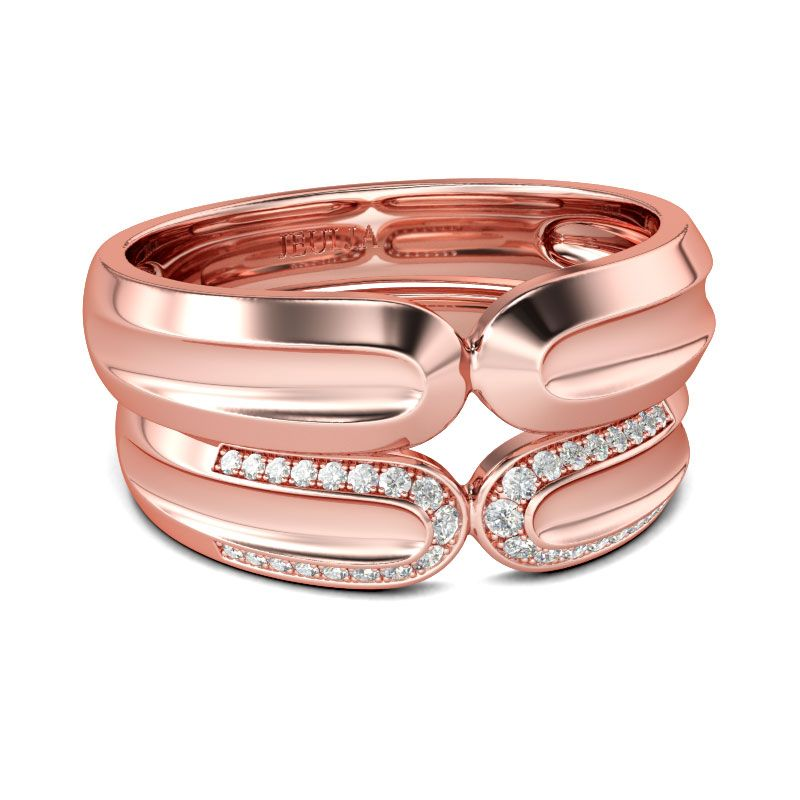 Round cut sterling silver rings in rose gold color
