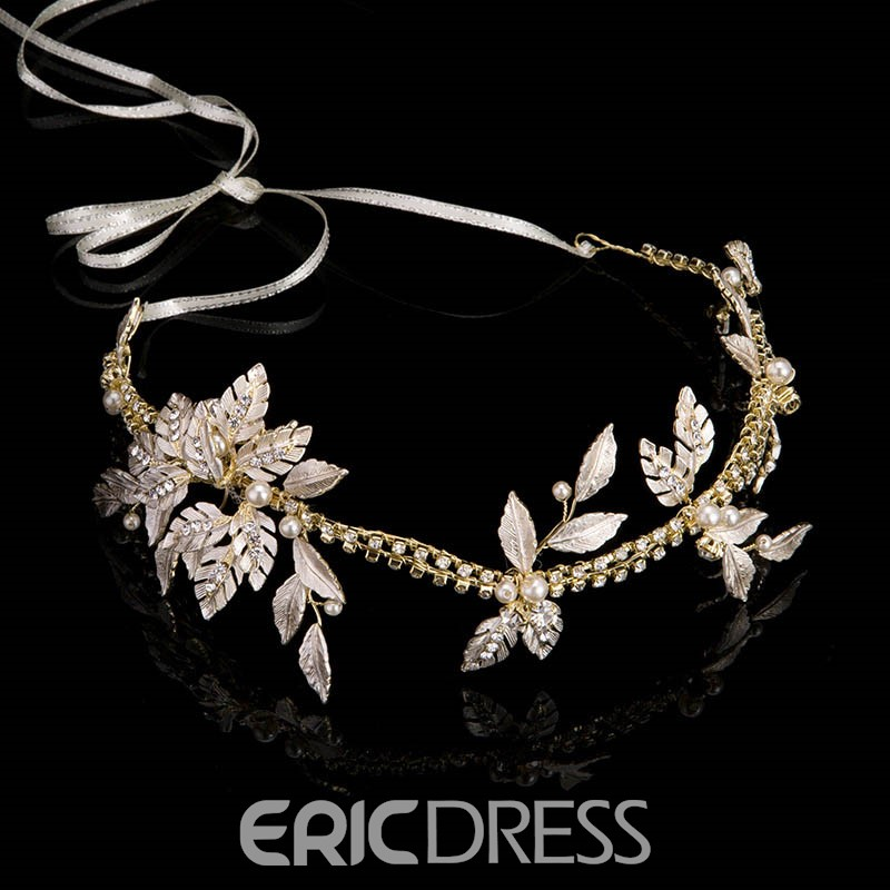 Statement hair piece with rhinestones and leaves