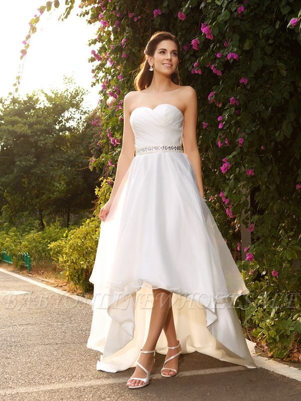 Sweetheart bodice high low bridal dress