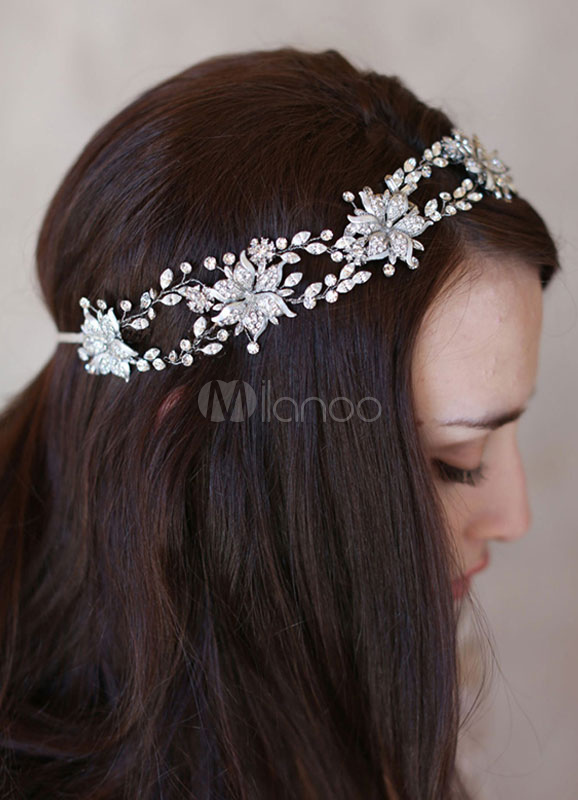 Thick crystal flower headband