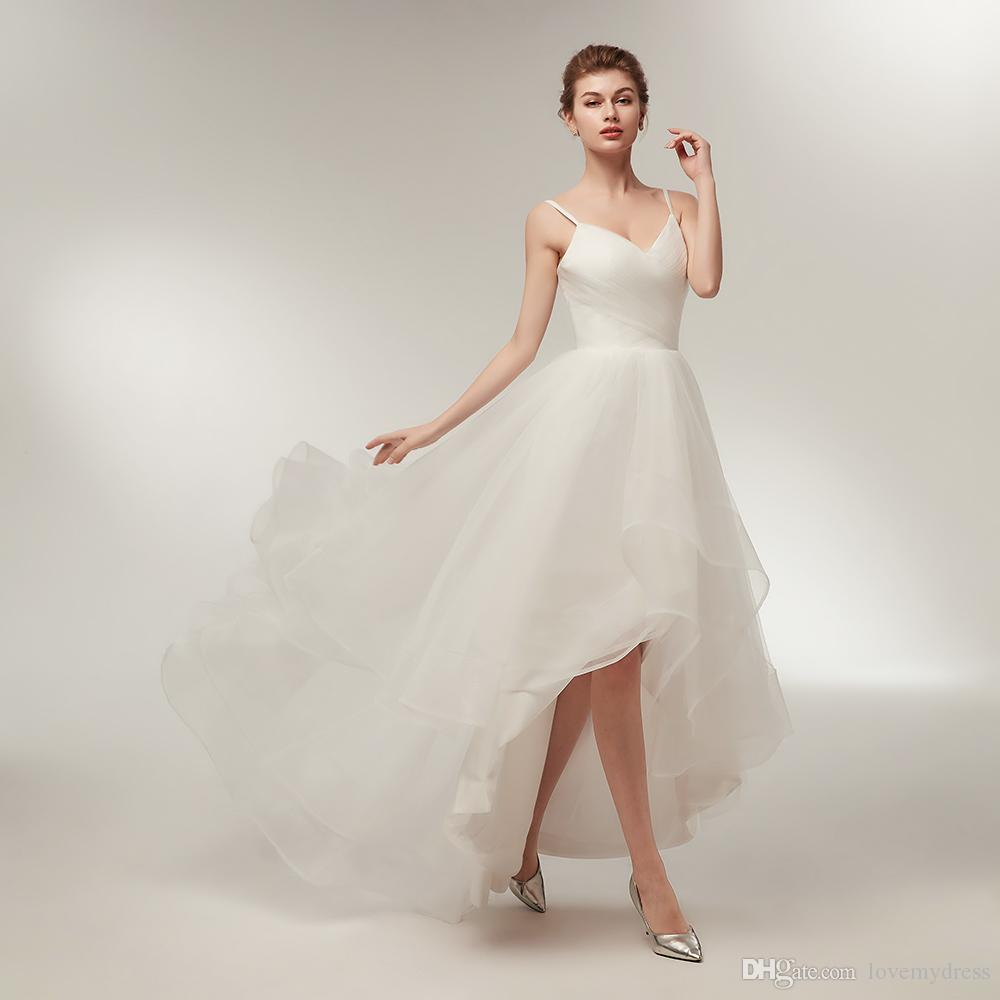 Tulle high low wedding gown