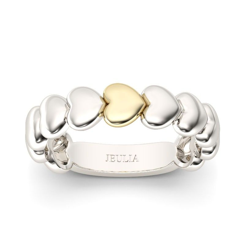 Two-tone heart shape wedding ring