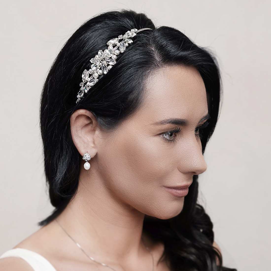 Wedding headband with hair all down